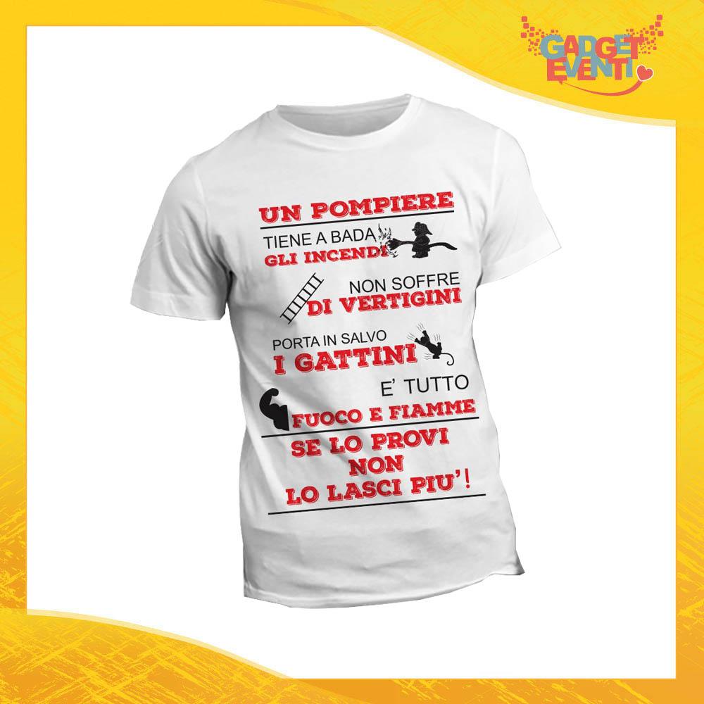 """T-Shirt Maglietta Bianca per """"Pompieri"""" Mestiere Lavoro Gadget Eventi"""