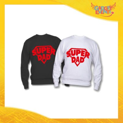 "Felpa ""Super Dad"" Idea Regalo Originale Festa del Papà Gadget Eventi"