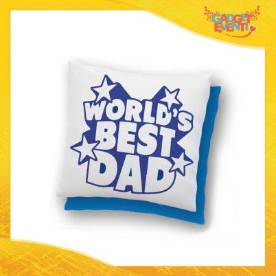 """Cuscino Quadrato """"World's Best Dad Stelline"""" Idea Regalo Festa del Papà Gadget Eventi"""