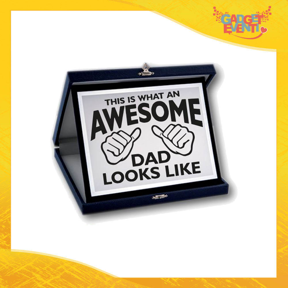 """Targa Decorativa """"Awesome Dad"""" Idea Regalo Festa del Papà Gadget Eventi"""
