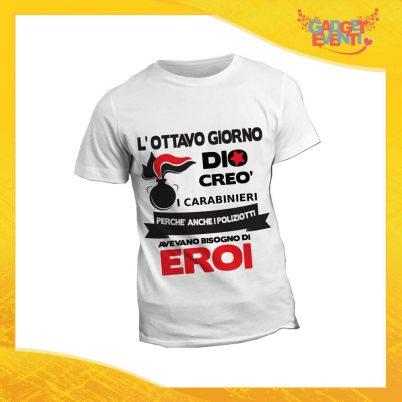 """T-Shirt Maglietta Bianca per """"Carabinieri"""" Mestiere Lavoro Gadget Eventi"""