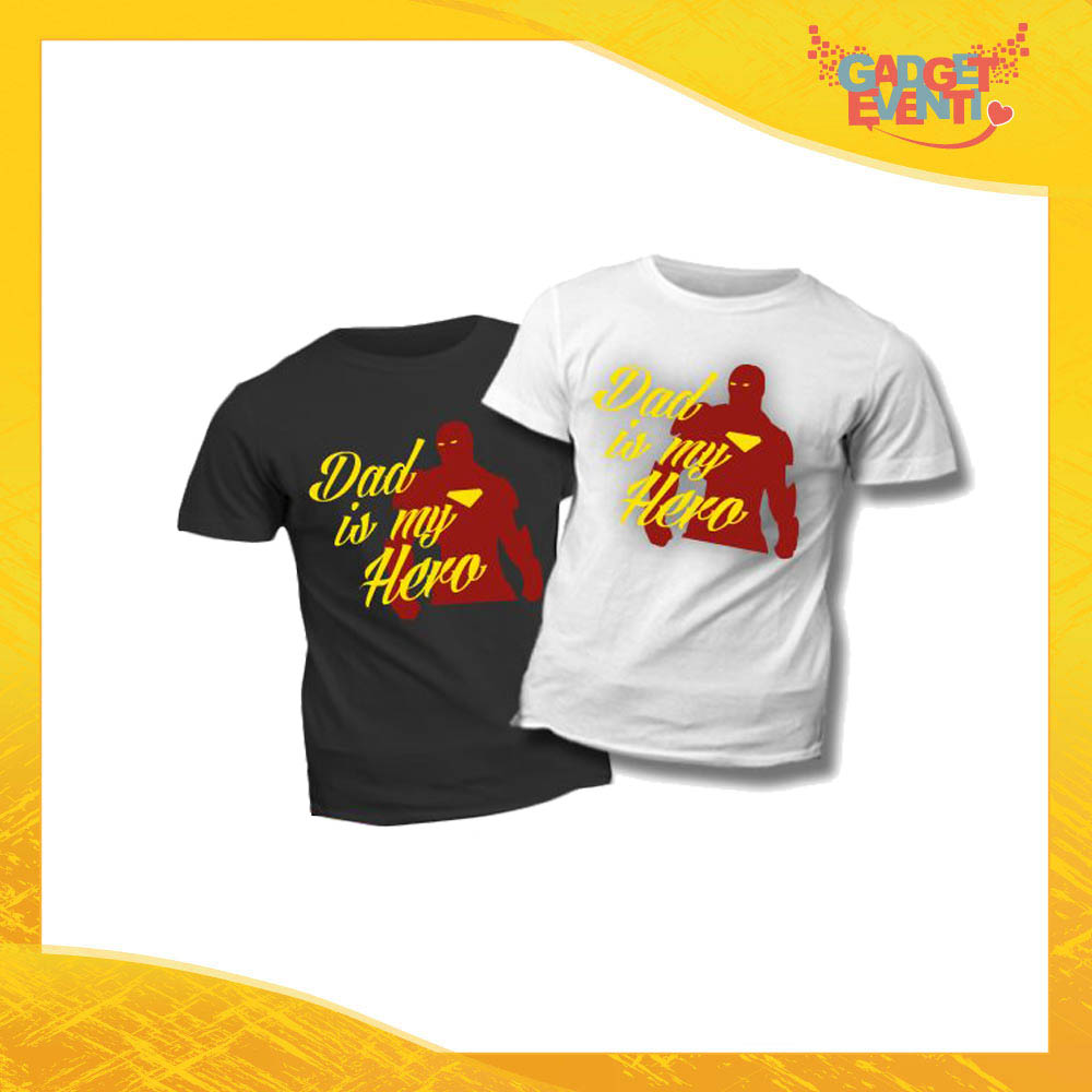 "T-Shirt Bimbo ""Dad is My Hero Red"" Idea Regalo Bambino Festa del Papà Gadget Eventi"