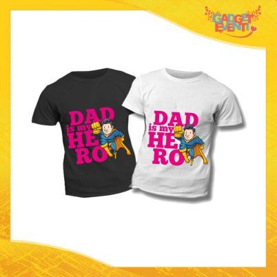 """T-Shirt Bimbo Femminuccia """"Dad is My Hero Supereroe"""" Idea Regalo Bambino Festa del Papà Gadget Eventi"""