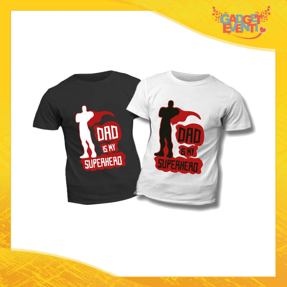 "T-Shirt Bimbo ""Dad is My Superhero"" Idea Regalo Bambino Festa del Papà Gadget Eventi"