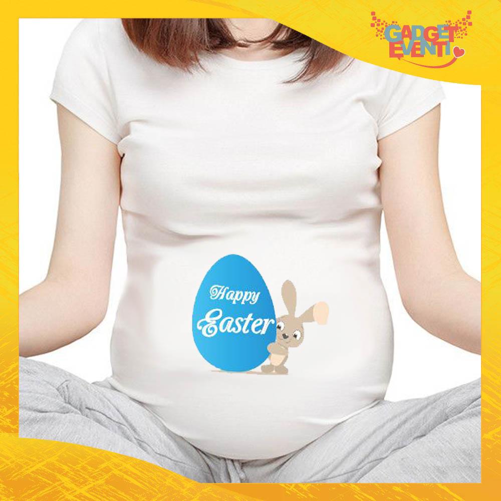 """T-Shirt Premaman Maschietto """"Happy Easter Uovo"""" Regalo Pasquale Pasqua Gadget Eventi"""