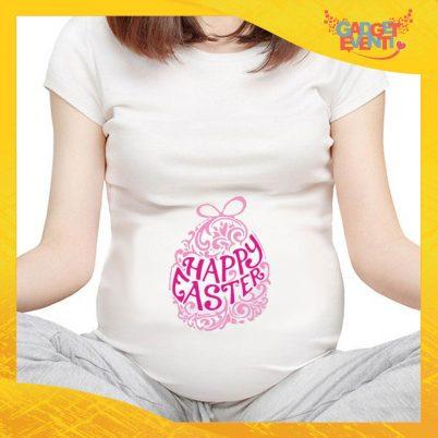 "T-Shirt Premaman Femminuccia ""Happy Easter"" Regalo Pasquale Pasqua Gadget Eventi"