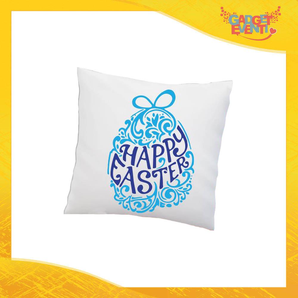 """Cuscino Quadrato Maschietto """"Happy Easter"""" Idea Regalo Pasquale Pasqua Gadget Eventi"""