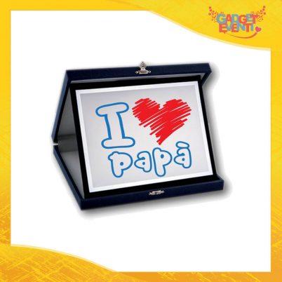 """Targa Decorativa Scritta Azzurra Cuore Rosso """"I Love Papà"""" Idea Regalo Festa del Papà Gadget Eventi"""