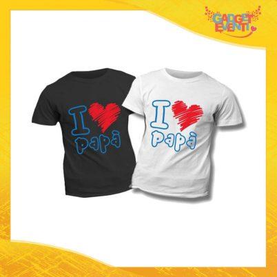 """T-Shirt Bimbo Scritta Azzurra Cuore Rosso """"I Love Papà"""" Idea Regalo Bambino Festa del Papà Gadget Eventi"""