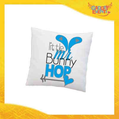 "Cuscino Quadrato Maschietto ""Little Bunny Hop"" Idea Regalo Pasquale Pasqua Gadget Eventi"