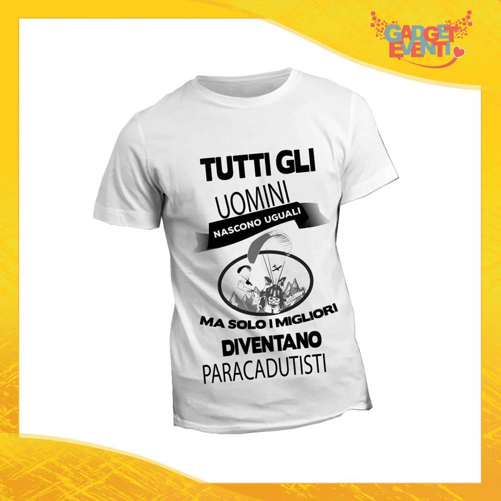 "T-Shirt Maglietta Bianca per ""Paracadutisti"" Mestiere Lavoro Gadget Eventi"