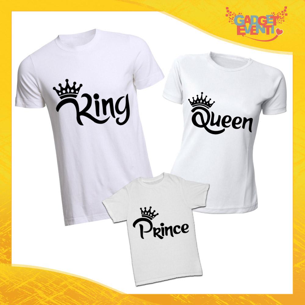 """Tris di T-Shirt Bianche """"Famiglia Reale Corona"""" Magliette per Tutta la Famiglia Completo di Maglie Padre Madre Figli Idea Regalo Gadget Eventi"""