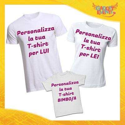 Personalizza il tuo Tris di T-Shirt Bianche Set di Magliette Padre Madre e Figlio Gadget Eventi