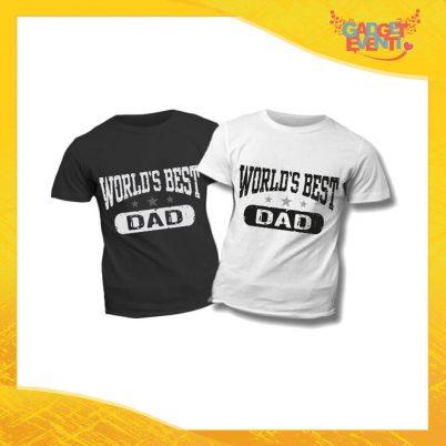 """T-Shirt Bimbo """"World's Best Dad"""" Idea Regalo Bambino Festa del Papà Gadget Eventi"""
