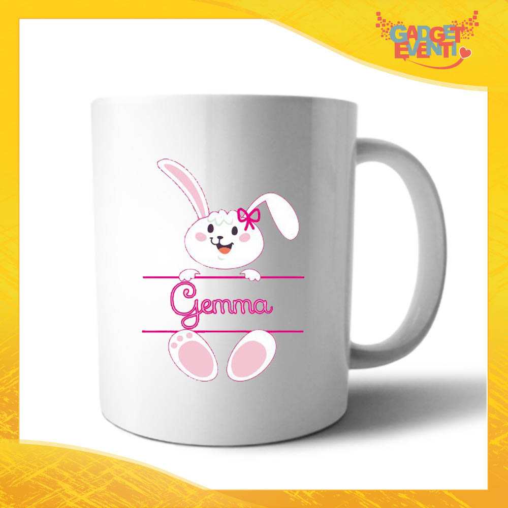 """Tazza per la Colazione Femminuccia """"Coniglietto con Nome"""" Mug Idea Regalo Pasquale Pasqua Gadget Eventi"""