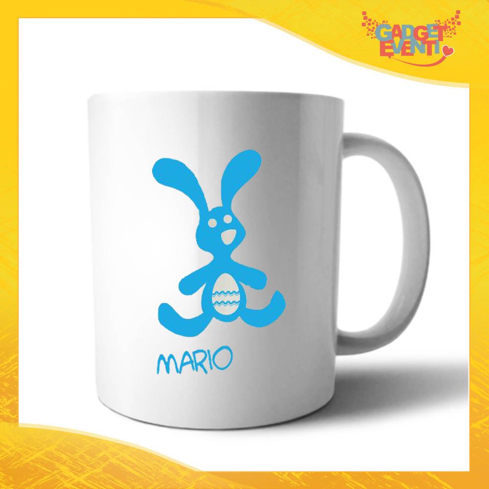 """Tazza per la Colazione Maschietto """"Coniglio con Uovo"""" Mug Idea Regalo Pasquale Pasqua Gadget Eventi"""