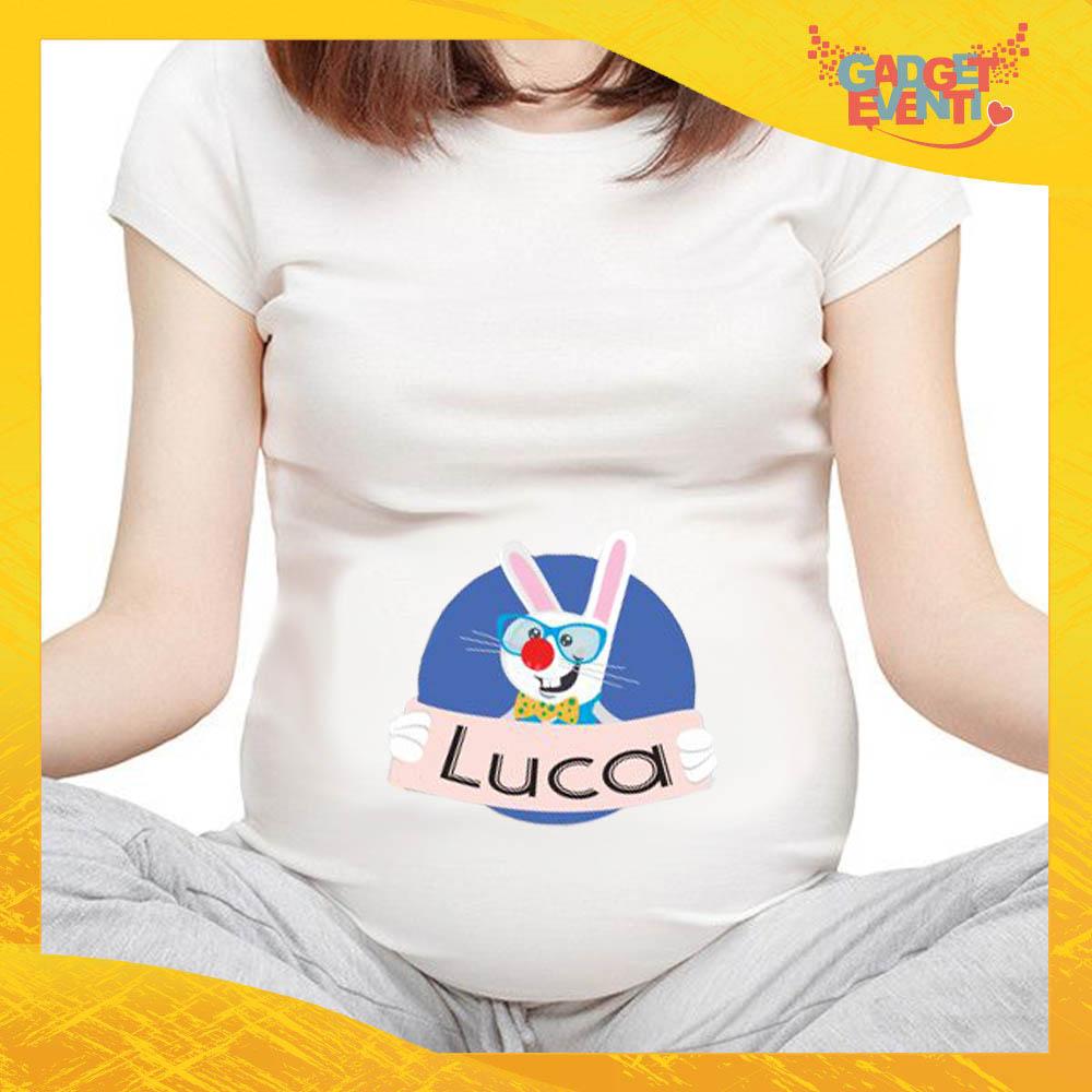 """T-Shirt Premaman Maschietto """"Coniglio Occhiali con Nome"""" Regalo Pasquale Pasqua Gadget Eventi"""