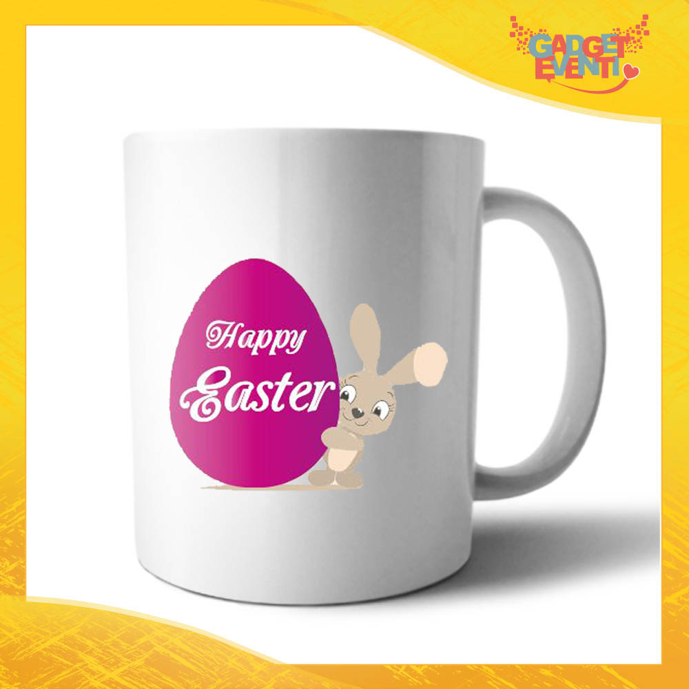 """Tazza per la Colazione Femminuccia """"Happy Easter Uovo"""" Mug Idea Regalo Pasquale Pasqua Gadget Eventi"""