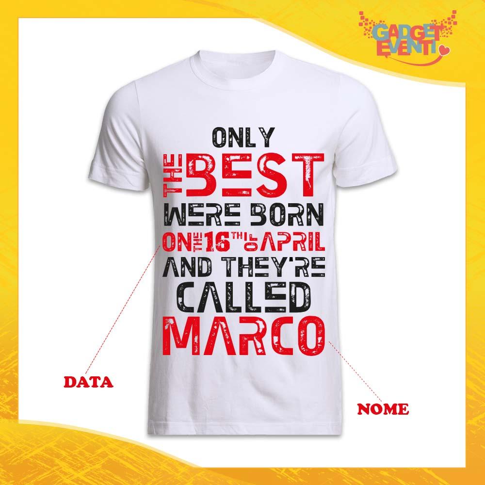 """T-Shirt Uomo Bianca Grafica Rossa """"Only The Best"""" Idea Regalo Festa di Compleanno Gadget Eventi"""