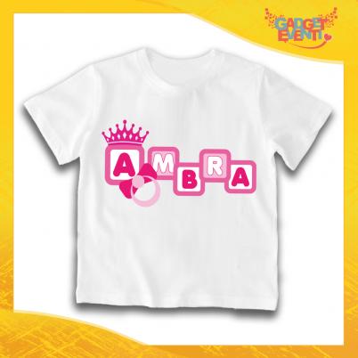 """Maglietta Bambino Bambina Bianca """"Corona Anello"""" Idea Regalo T-shirt Gadget Eventi"""