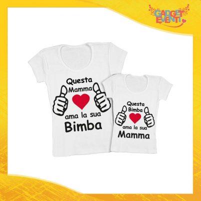 """Coppia t-shirt bianca femminuccia """"Ama i suoi bimbi"""" madre figli idea regalo festa della mamma gadget eventi"""