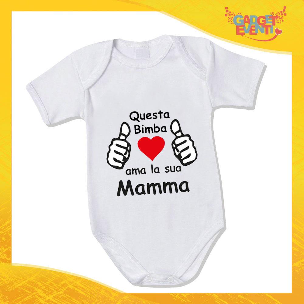 """Bodino Femminuccia """"Ama sua Madre"""" body bimbo Idea Regalo Festa della Mamma Gadget Eventi"""