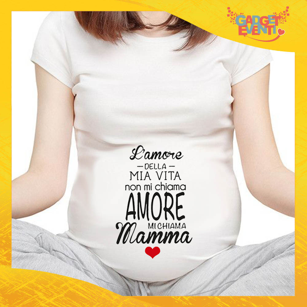 """T-shirt Premaman """"Amore della Mia Vita"""" idea regalo festa della mamma gadget eventi"""