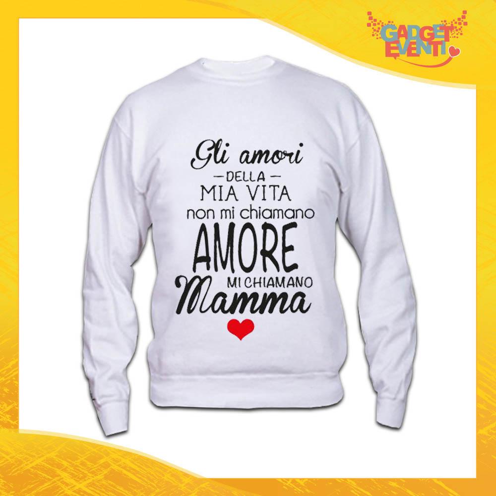 """Felpa Bianca """"Amori della mia Vita"""" Idea Regalo Festa della Mamma Gadget Eventi"""