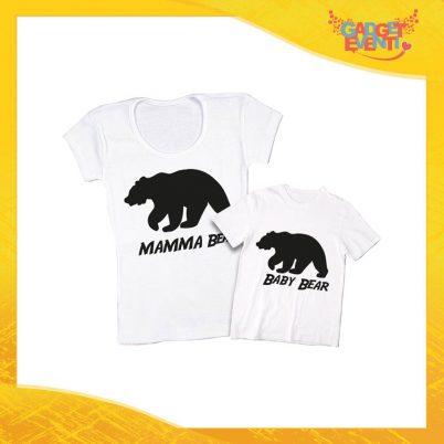 """Coppia t-shirt bianca bambino """"Bear"""" madre figli idea regalo festa della mamma gadget eventi"""