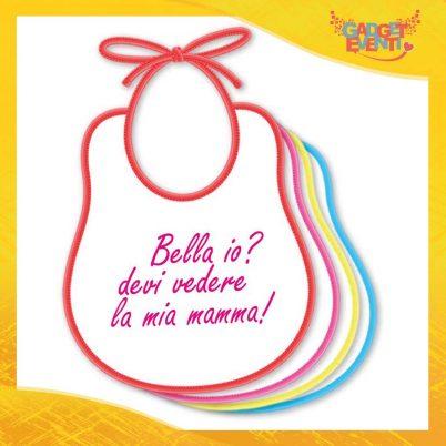 """Bavetto Femminuccia """"Bello bella io"""" Bavaglino Idea Regalo Festa della Mamma Gadget Eventi"""