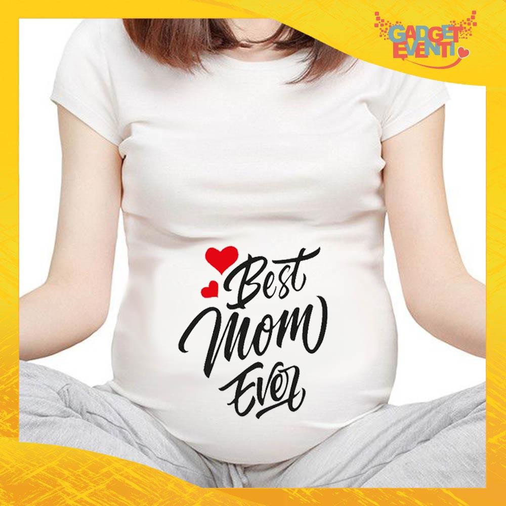 """T-shirt Premaman Bianca """"Best Mom Ever"""" idea regalo festa della mamma gadget eventi"""