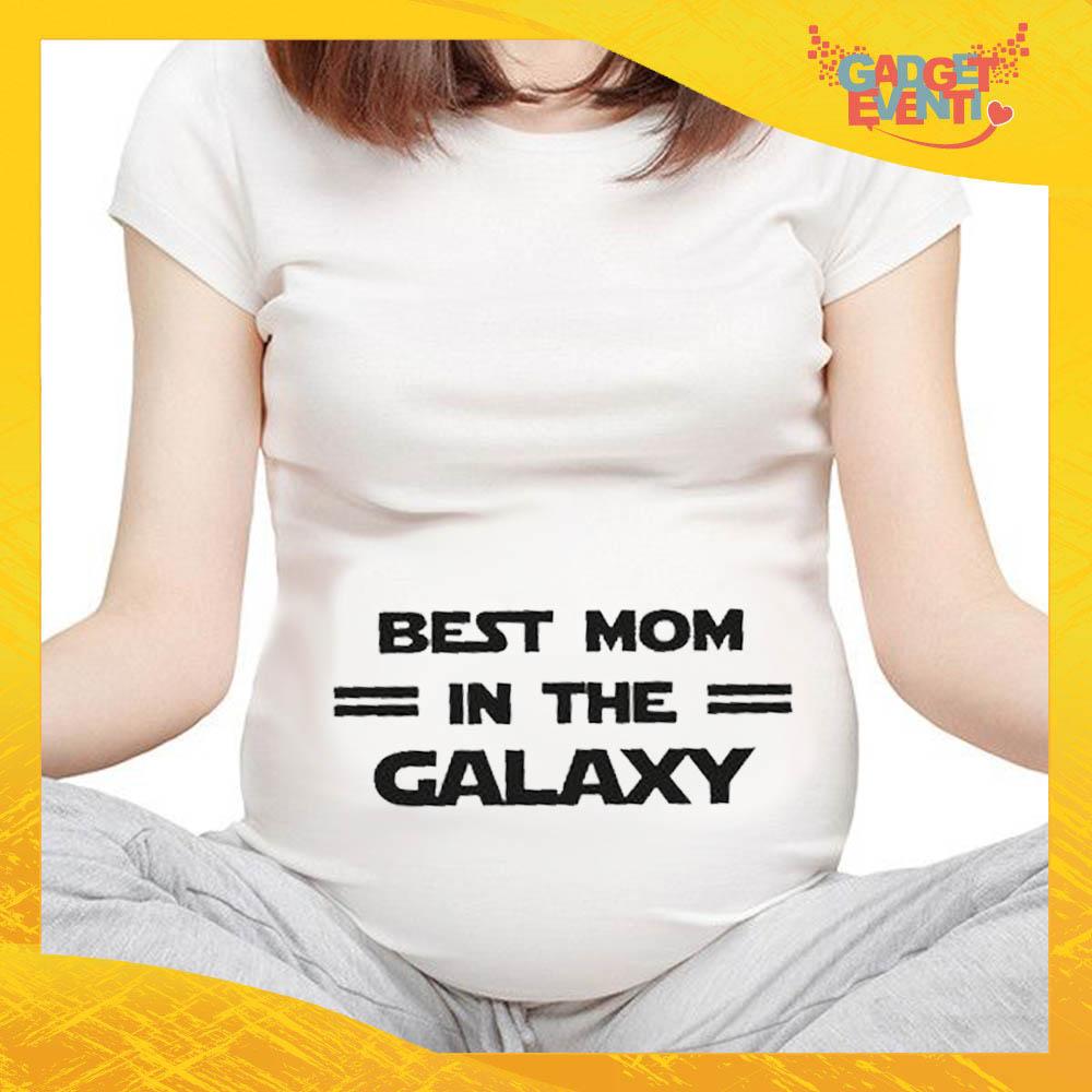"""T-shirt Premaman Bianca """"Best Mom Galaxy"""" idea regalo festa della mamma gadget eventi"""