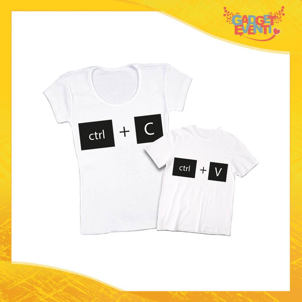 """Coppia t-shirt bianca bambino """"Copia Incolla"""" madre figli idea regalo festa della mamma gadget eventi"""
