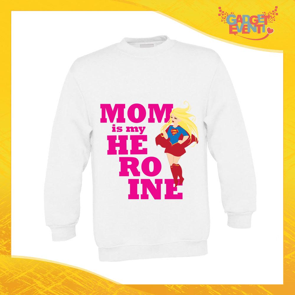 """Felpa Bimbo femminuccia """"Mom is my Heroine"""" bambino bambina bimbi idea regalo festa della mamma gadget eventi"""