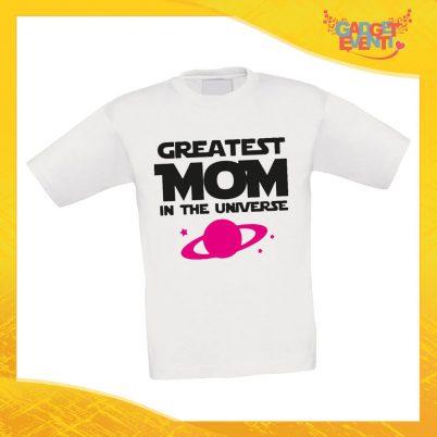 """Maglietta Bambino Bambina """"Greatest Mom Universe"""" Idea Regalo T-shirt Festa della Mamma Gadget Eventi"""