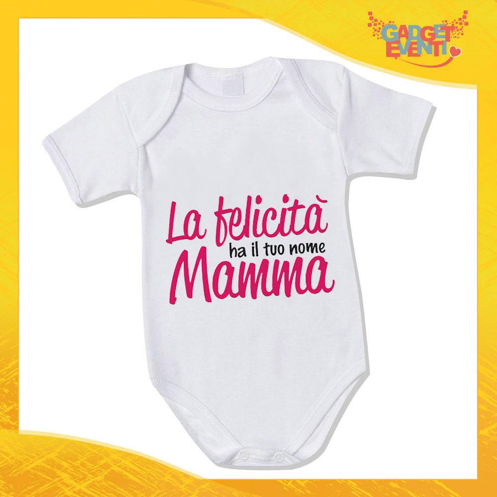 """Bodino Femminuccia """"La Felicità ha il tuo nome"""" body bimbo Idea Regalo Festa della Mamma Gadget Eventi"""