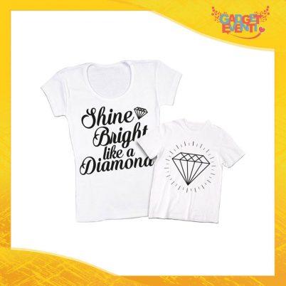 """Coppia t-shirt bianca bambino """"Like a Diamond"""" madre figli idea regalo festa della mamma gadget eventi"""