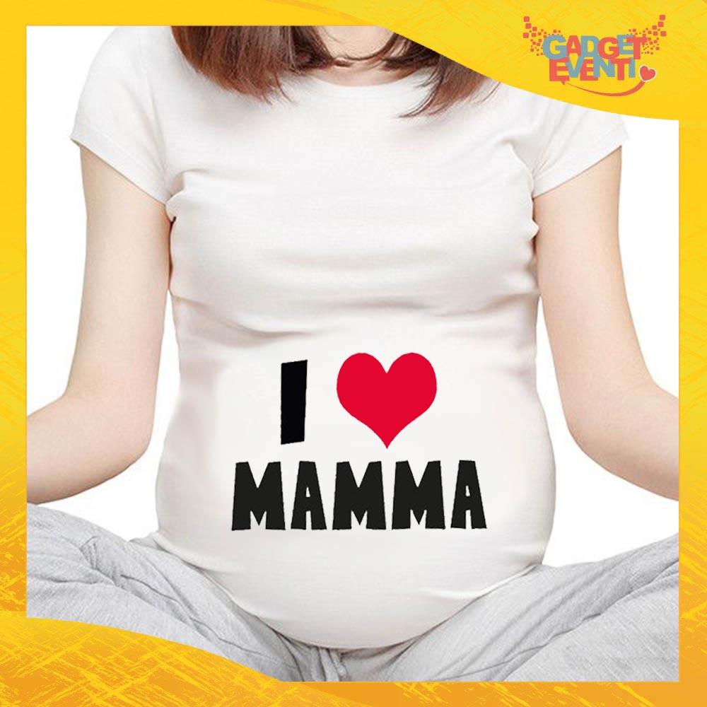 """T-shirt Premaman Bianca """"Love Cuore"""" idea regalo festa della mamma gadget eventi"""