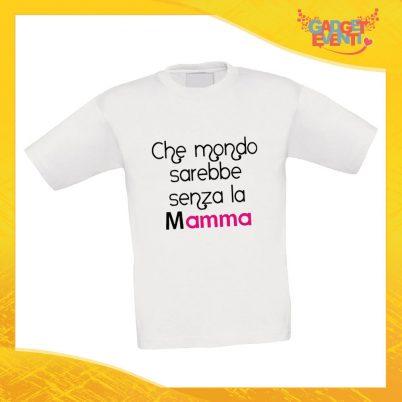 """Maglietta Bambino Bambina """"Mondo senza Mamma"""" Idea Regalo T-shirt Festa della Mamma Gadget Eventi"""