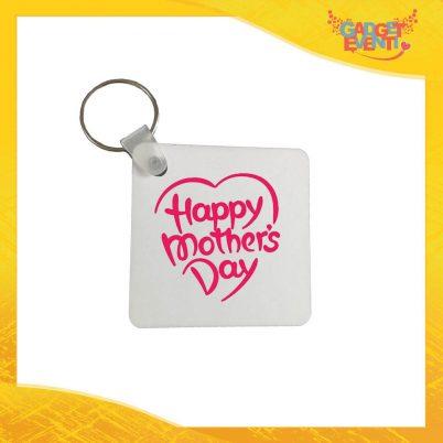"""Portachiavi Femminuccia """"Mother's Day"""" con Anello Quadrato Tondo a Cuore Idea Regalo Festa della Mamma Gadget Eventi"""