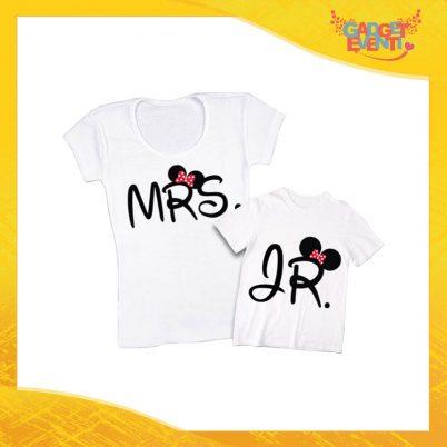 """Coppia t-shirt bianca femminuccia """"Mrs and Jr"""" madre figli idea regalo festa della mamma gadget eventi"""