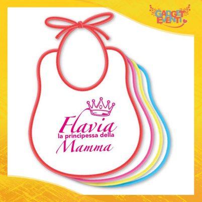 """Bavetto Femminuccia """"Principe Principessa di Mamma"""" Bavaglino Idea Regalo Festa della Mamma Gadget Eventi"""