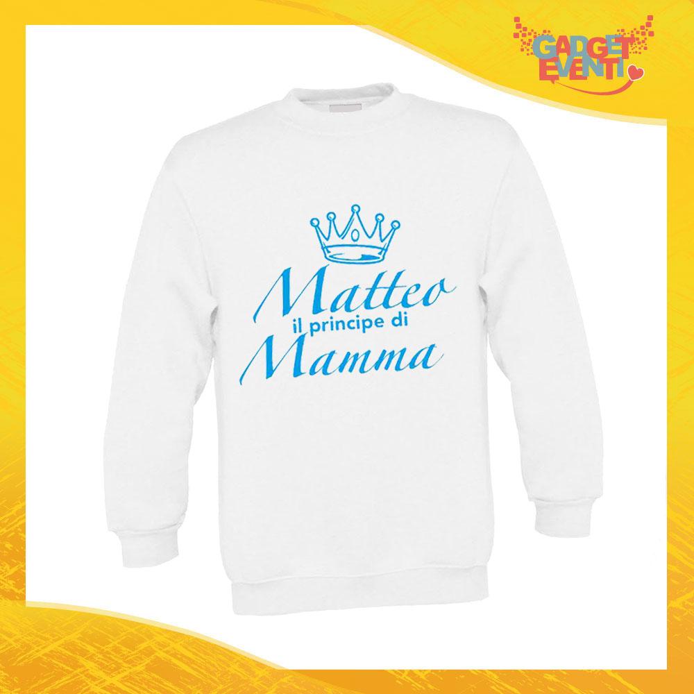 """Felpa Bimbo Maschietto """"Principe Principessa con Nome"""" Bambino Bambina Bimbi Idea Regalo Festa della Mamma Gadget Eventi"""