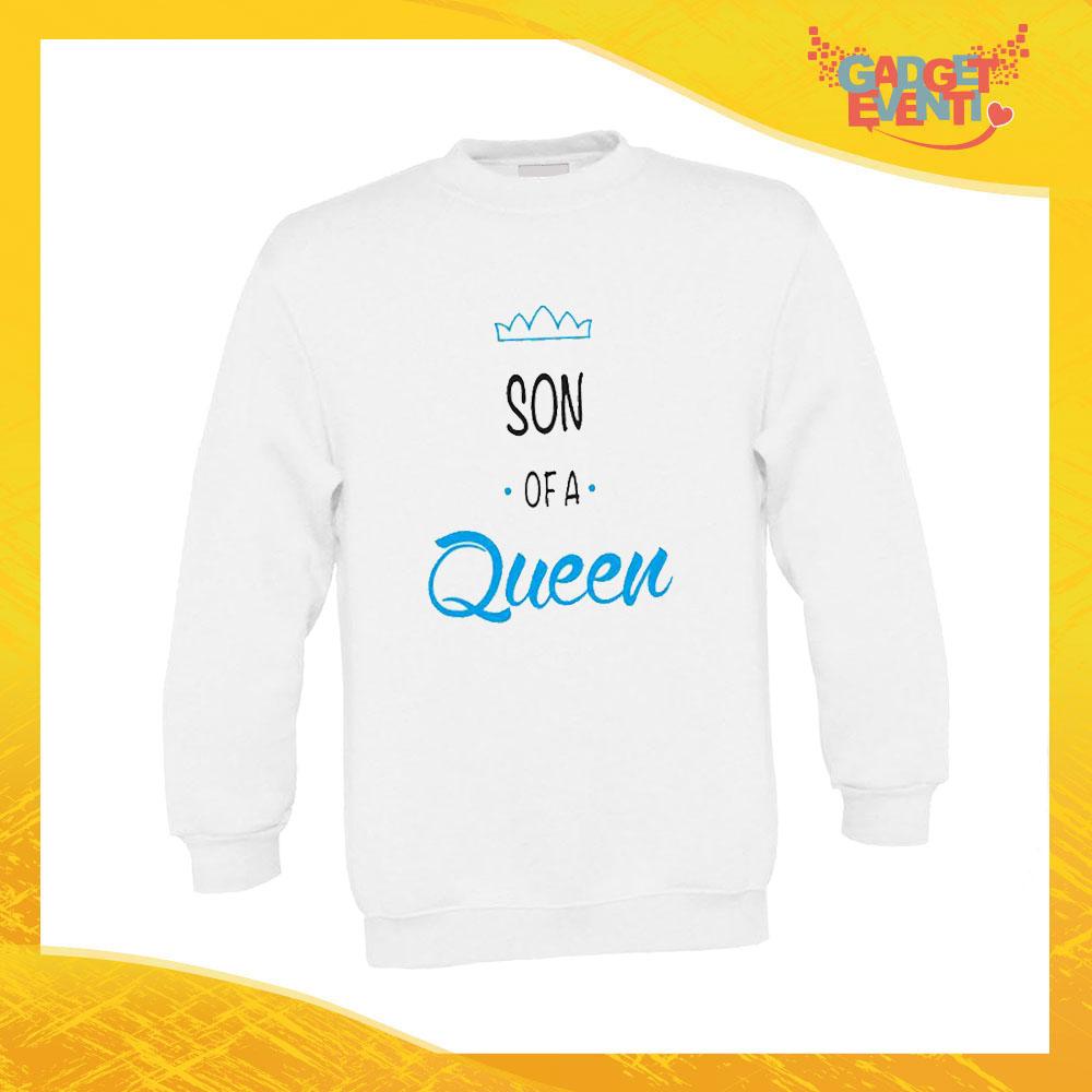 """Felpa Bimbo Maschietto """"Son Daughter Queen"""" Bambino Bambina Bimbi Idea Regalo Festa della Mamma Gadget Eventi"""