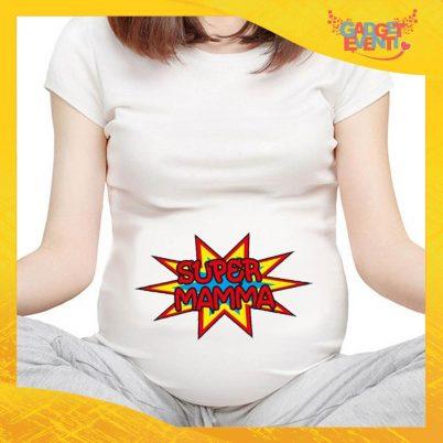 """T-shirt Premaman Bianca """"Super Madre"""" idea regalo festa della mamma gadget eventi"""
