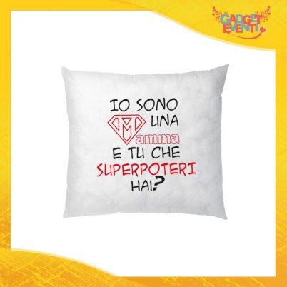 """Cuscino Quadrato """"Super Poteri"""" Idea Regalo Festa della Mamma Gadget Eventi"""