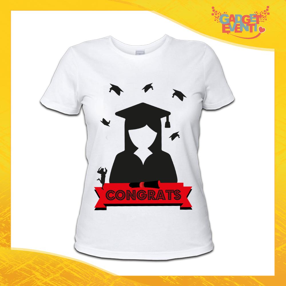 "Maglietta Donna Bianca ""Congrats"" Idea Regalo T-shirt Festa di Laurea Gadget Eventi"