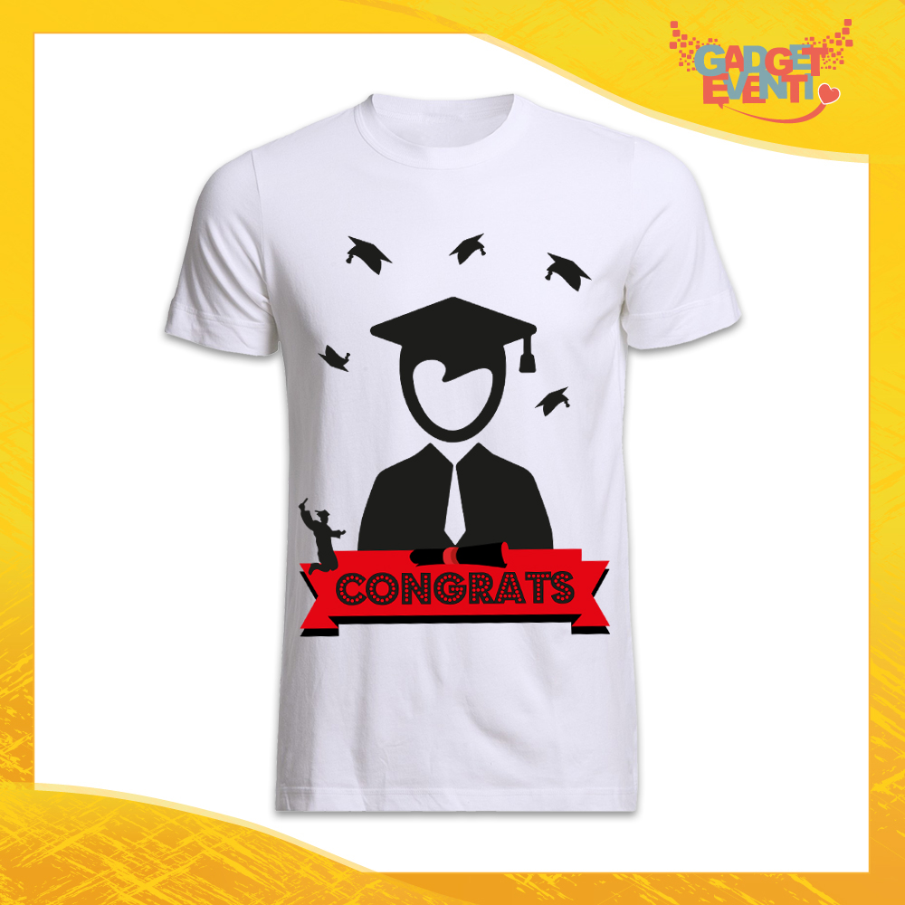 """Maglietta Uomo Bianca """"Congrats"""" Idea Regalo T-shirt Festa di Laurea Gadget Eventi"""
