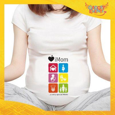 """T-shirt Premaman """"iMom"""" idea regalo festa della mamma gadget eventi"""