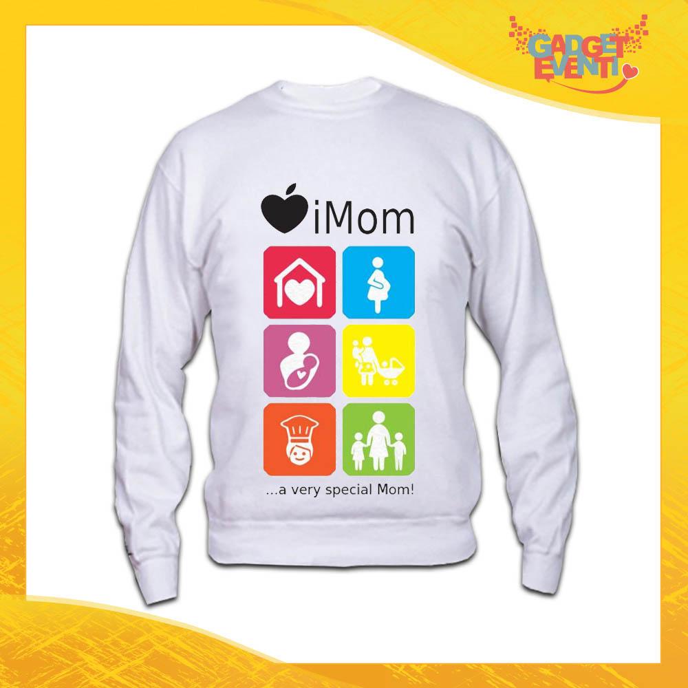 """Felpa Bianca """"iMom"""" Idea Regalo Festa della Mamma Gadget Eventi"""